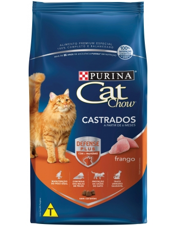 CAT CHOW PS RAÇÃO SECA PARA GATOS CASTRADOS SABOR FRANGO - 10X1KG